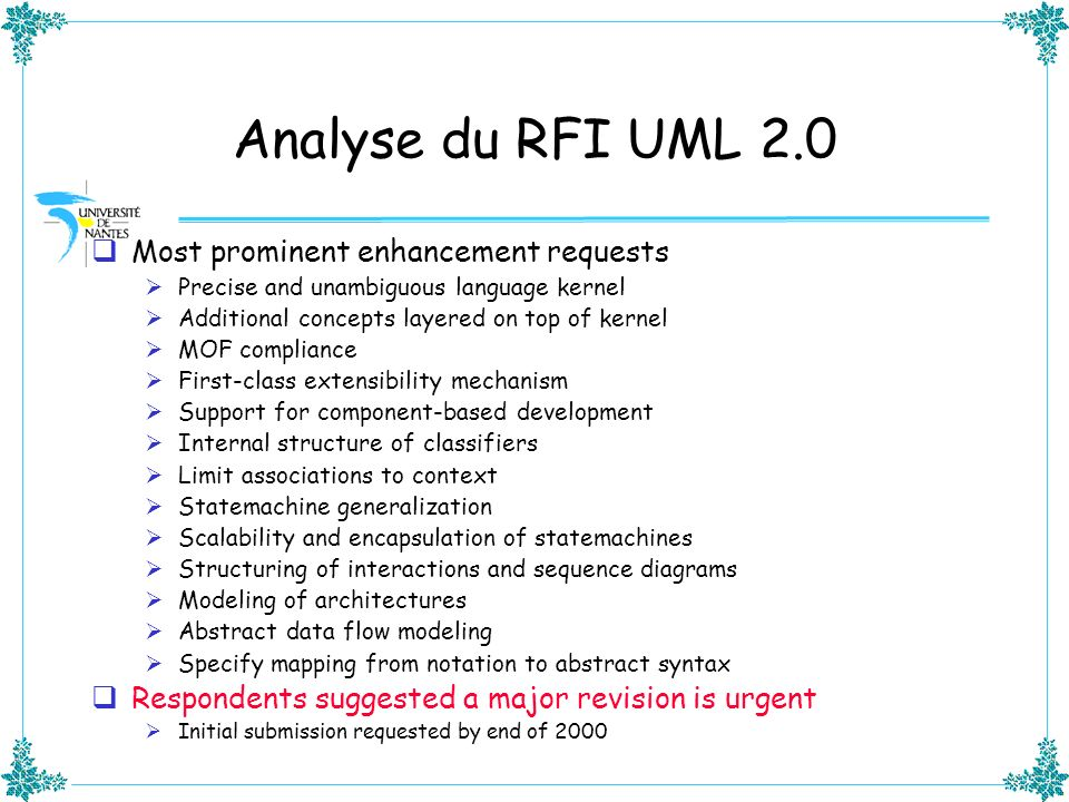Analyse du RFI UML 2.0 Most prominent enhancement requests