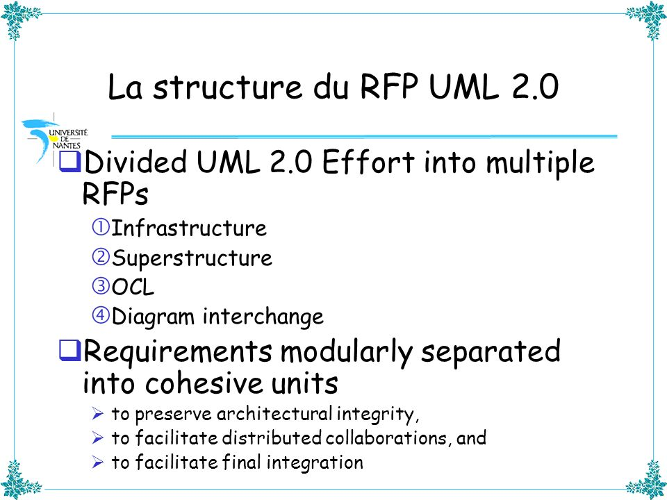 La structure du RFP UML 2.0 Divided UML 2.0 Effort into multiple RFPs