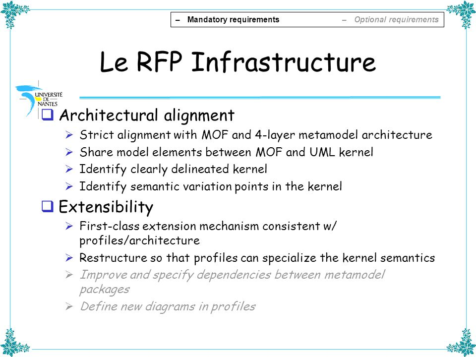 Le RFP Infrastructure Architectural alignment Extensibility