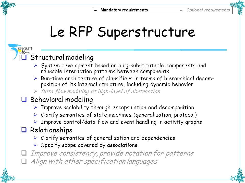 Le RFP Superstructure Structural modeling Behavioral modeling