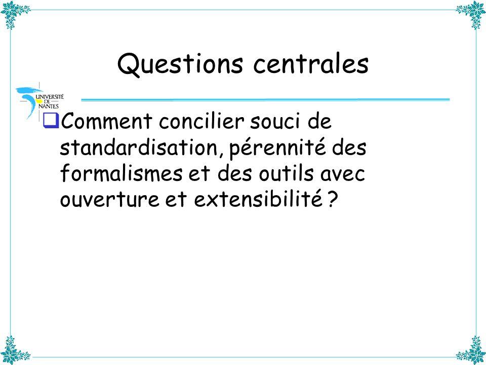 Questions centrales Comment concilier souci de standardisation, pérennité des formalismes et des outils avec ouverture et extensibilité