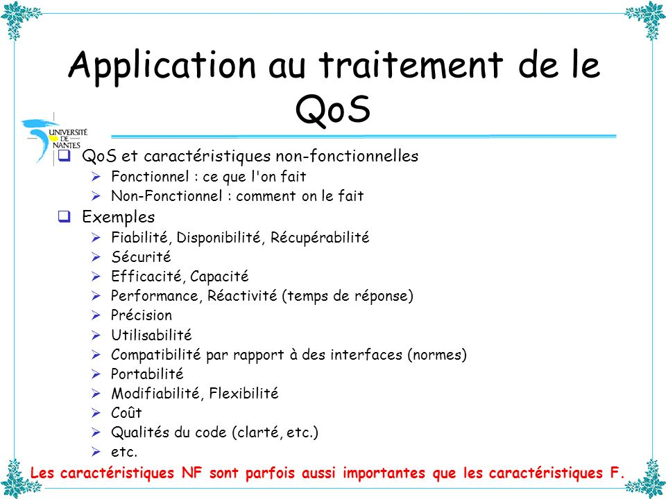 Application au traitement de le QoS