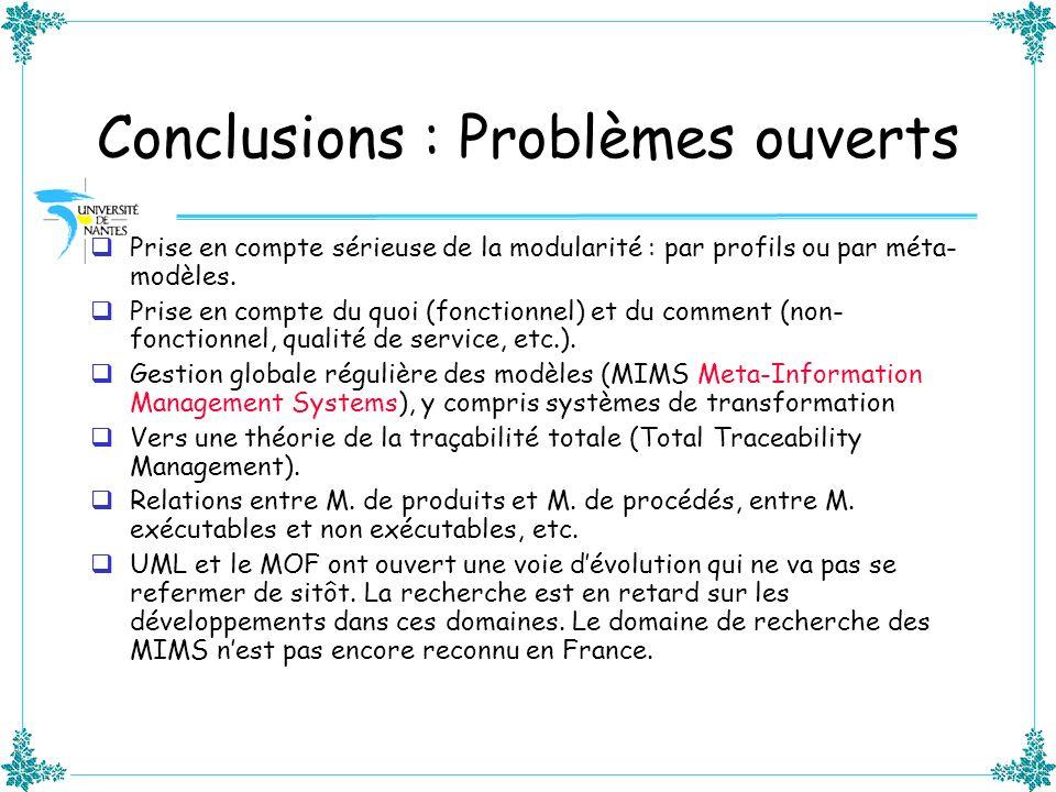 Conclusions : Problèmes ouverts