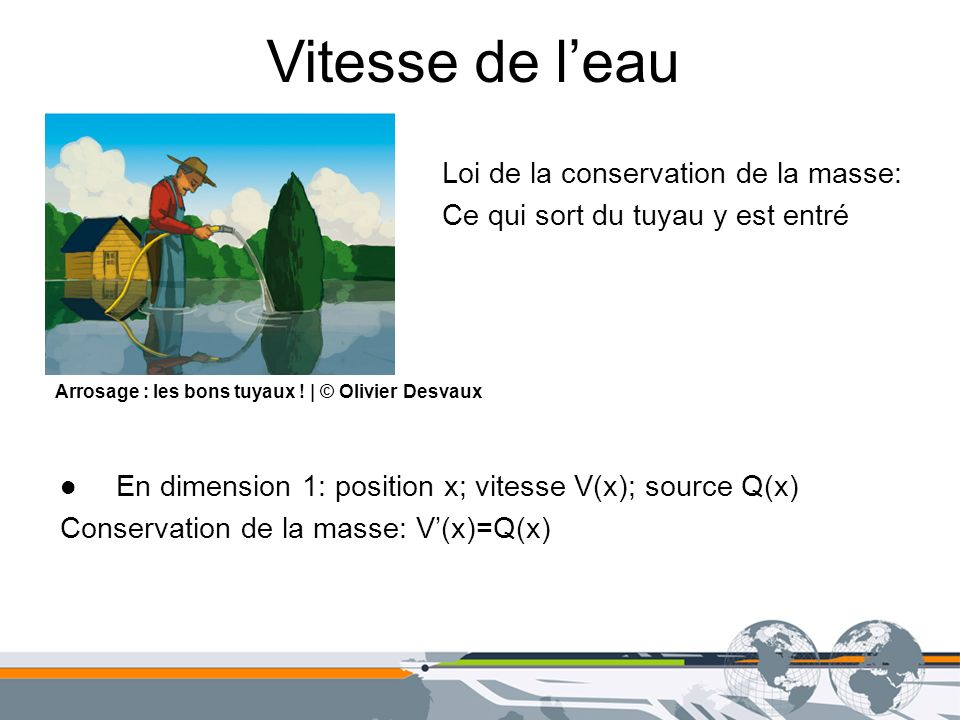Vitesse de l'eau Loi de la conservation de la masse: