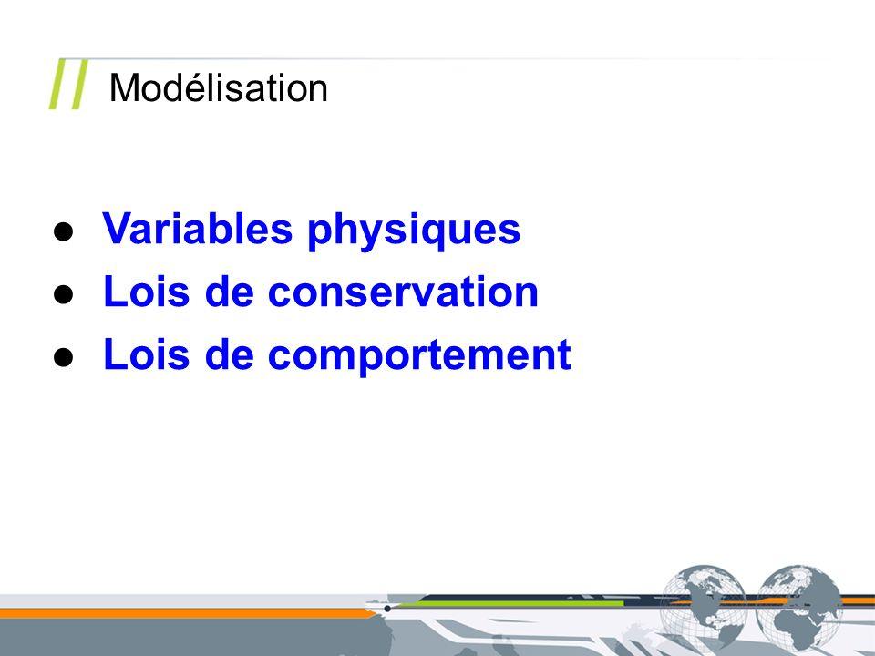Variables physiques Lois de conservation Lois de comportement