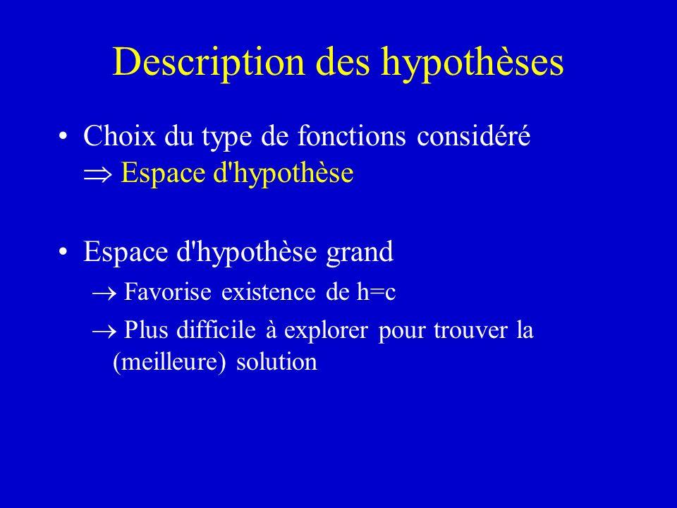 Description des hypothèses