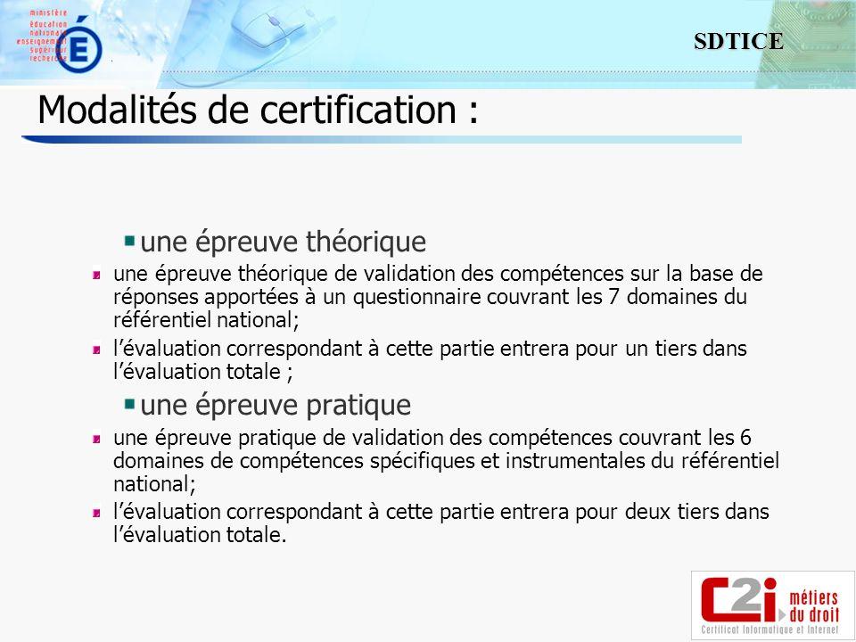 Modalités de certification :