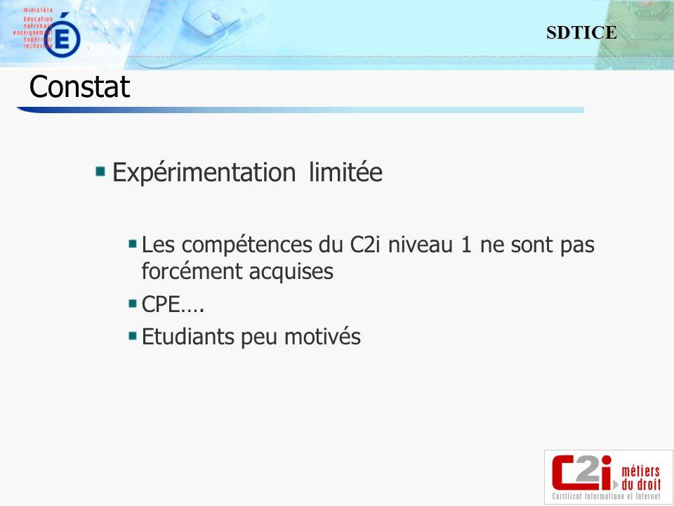 Constat Expérimentation limitée