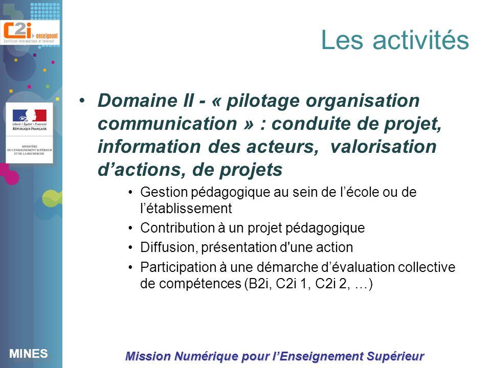 Les activités Domaine II - « pilotage organisation communication » : conduite de projet, information des acteurs, valorisation d'actions, de projets.