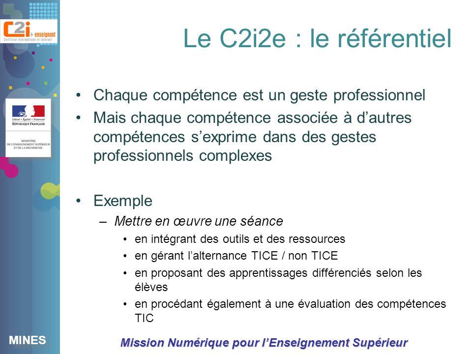 Le C2i2e : le référentiel Chaque compétence est un geste professionnel