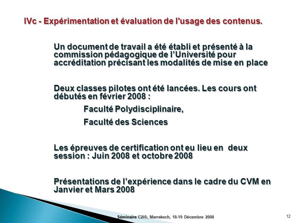 IVc - Expérimentation et évaluation de l usage des contenus.