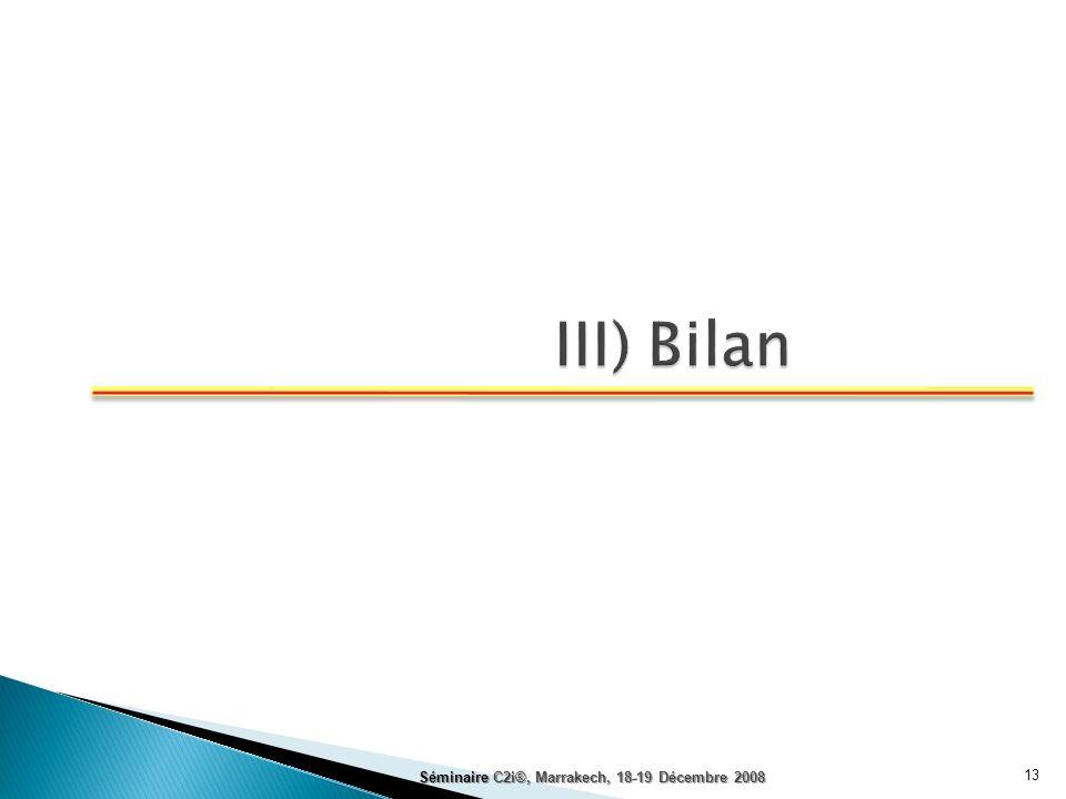 III) Bilan Séminaire C2i®, Marrakech, 18-19 Décembre 2008