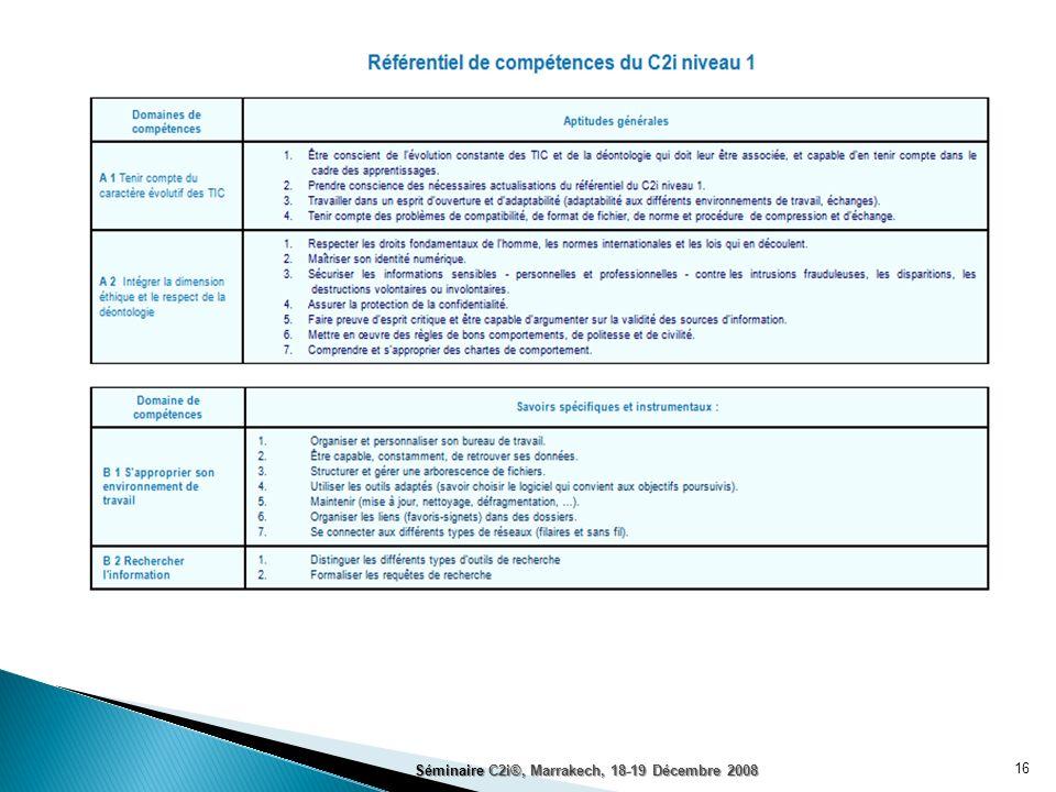 Séminaire C2i®, Marrakech, 18-19 Décembre 2008