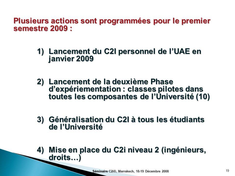 Plusieurs actions sont programmées pour le premier semestre 2009 :
