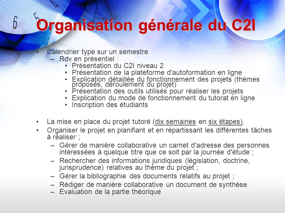 Organisation générale du C2I