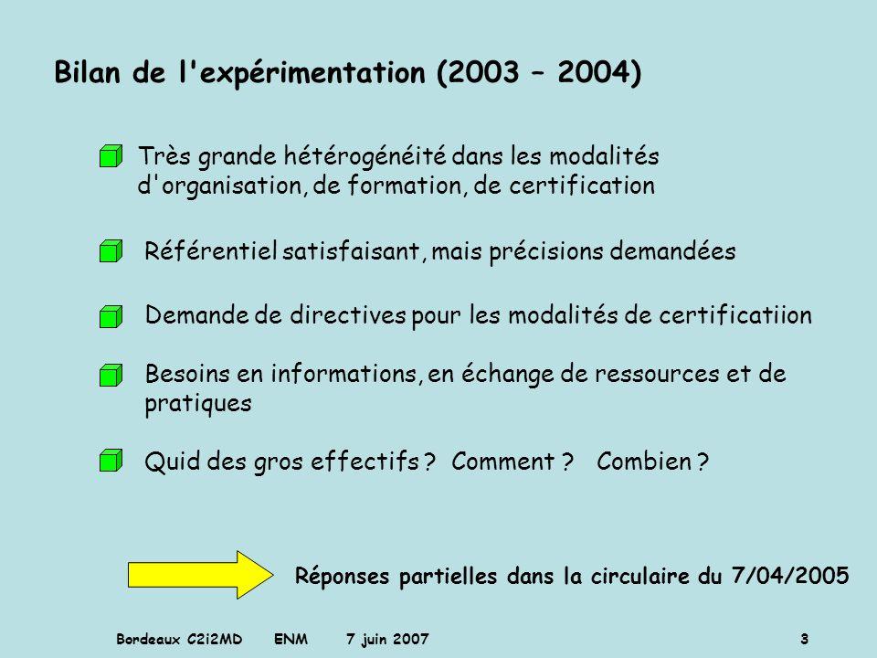 Bilan de l expérimentation (2003 – 2004)