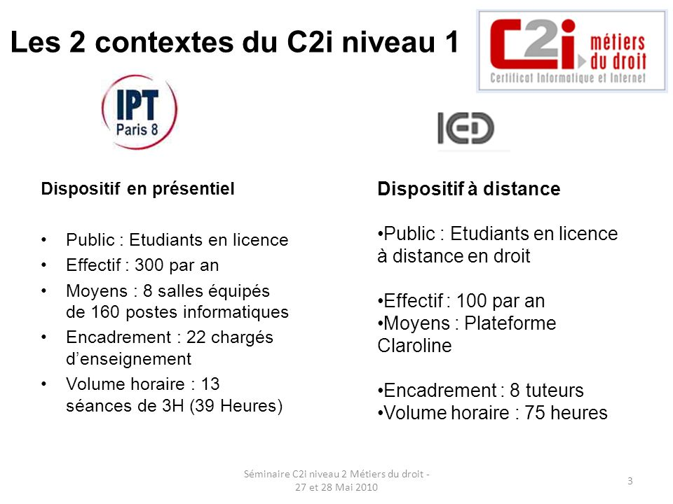 Les 2 contextes du C2i niveau 1