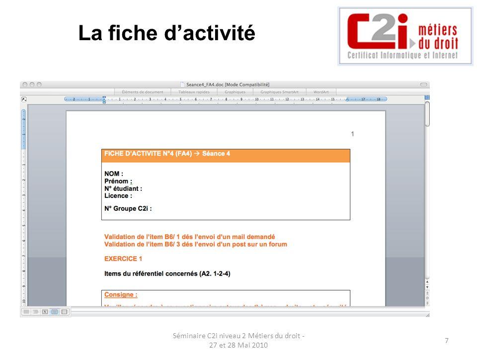 Séminaire C2i niveau 2 Métiers du droit - 27 et 28 Mai 2010