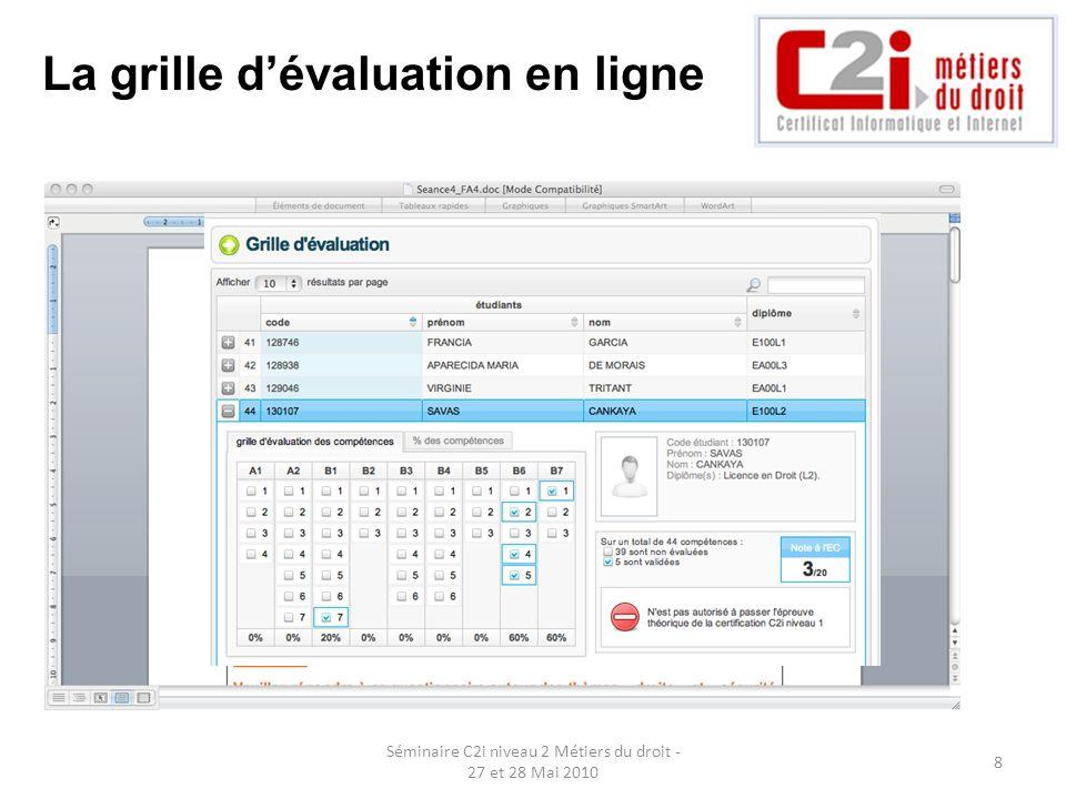 La grille d'évaluation en ligne