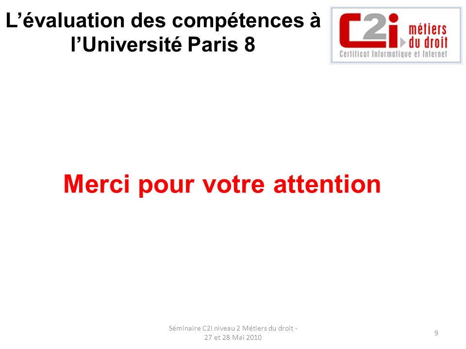 L'évaluation des compétences à l'Université Paris 8