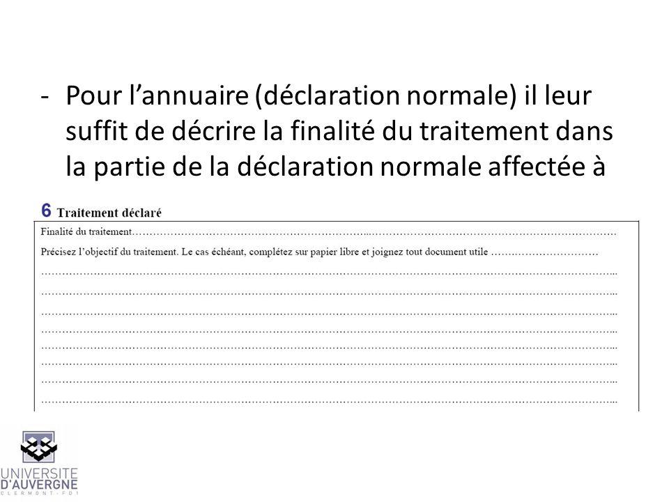 Pour l'annuaire (déclaration normale) il leur suffit de décrire la finalité du traitement dans la partie de la déclaration normale affectée à cet usage: