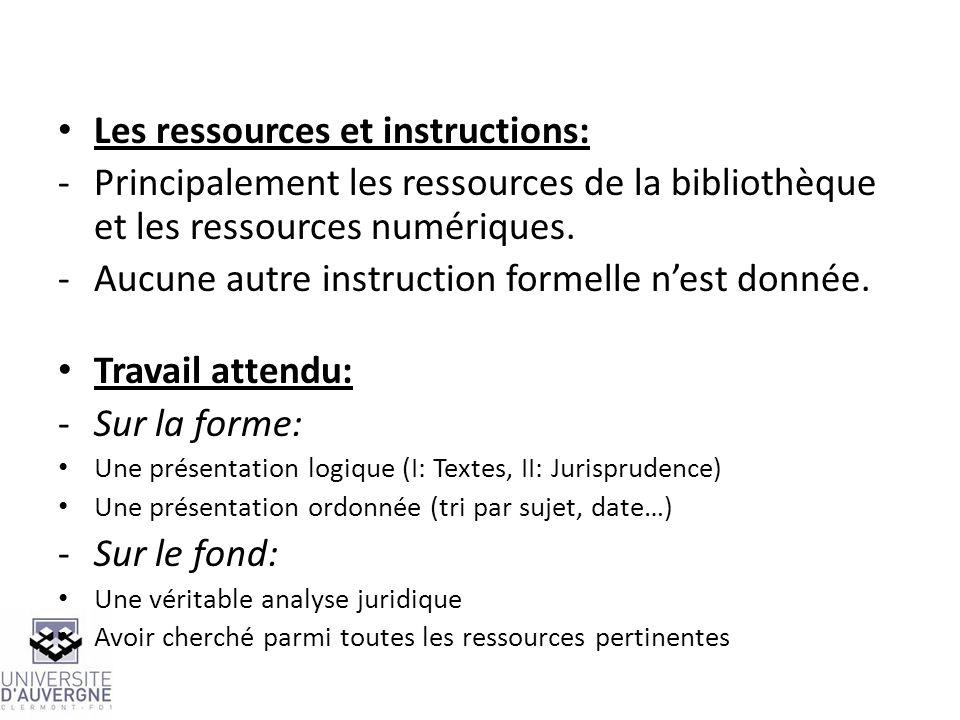 Les ressources et instructions:
