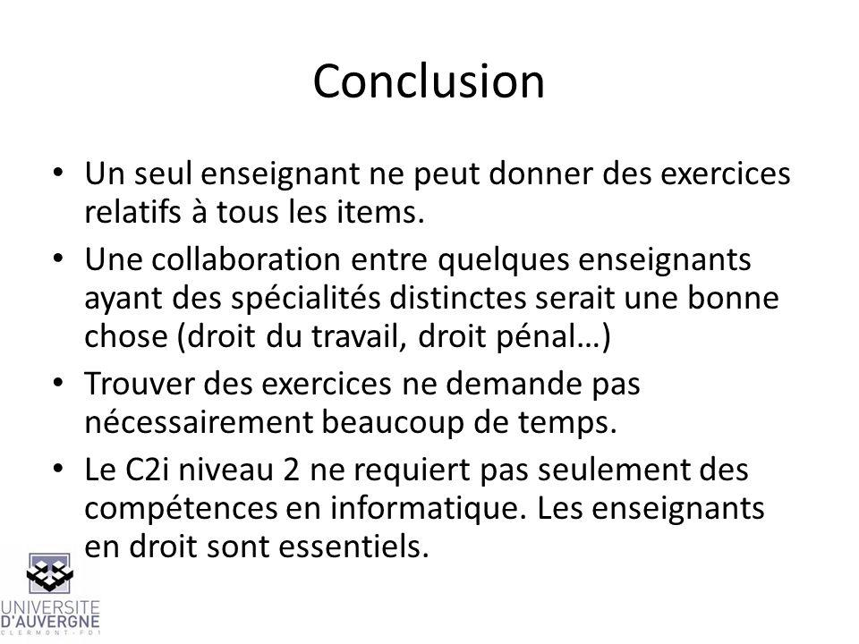 ConclusionUn seul enseignant ne peut donner des exercices relatifs à tous les items.