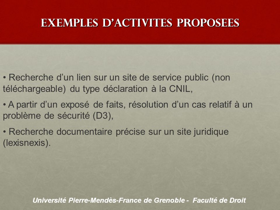 exemples d'activites proposees