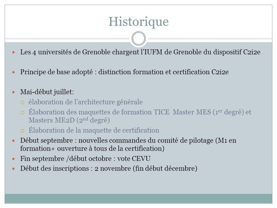 HistoriqueLes 4 universités de Grenoble chargent l'IUFM de Grenoble du dispositif C2i2e.