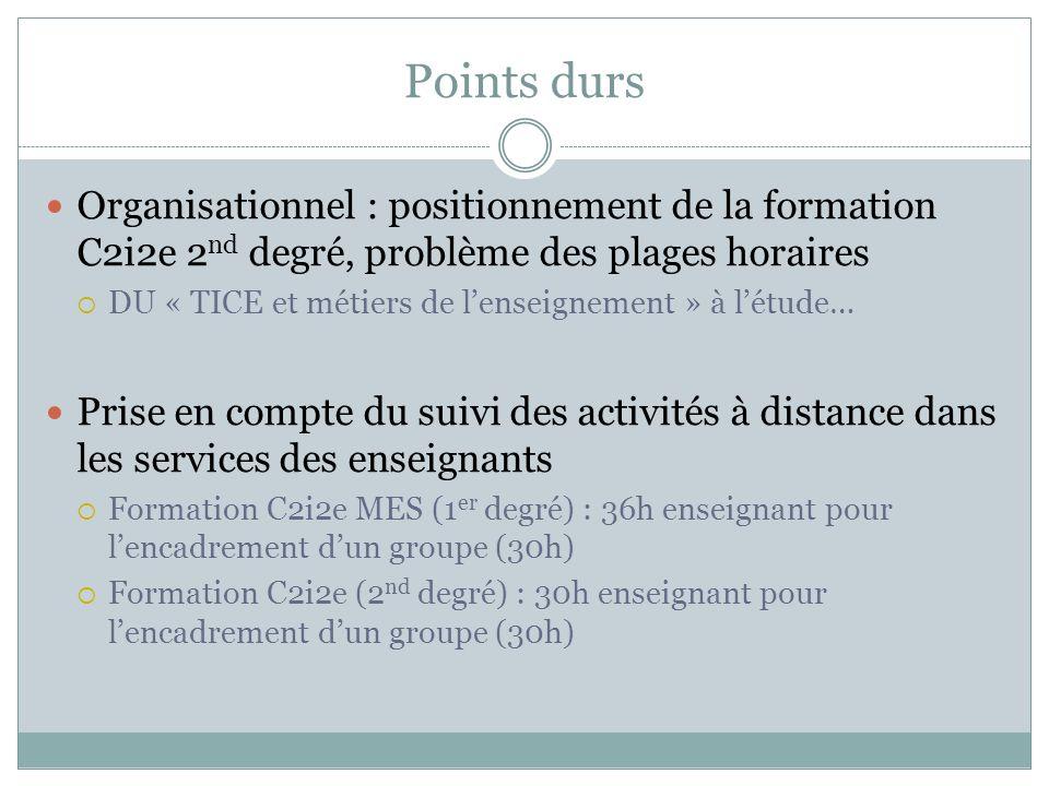 Points durs Organisationnel : positionnement de la formation C2i2e 2nd degré, problème des plages horaires.