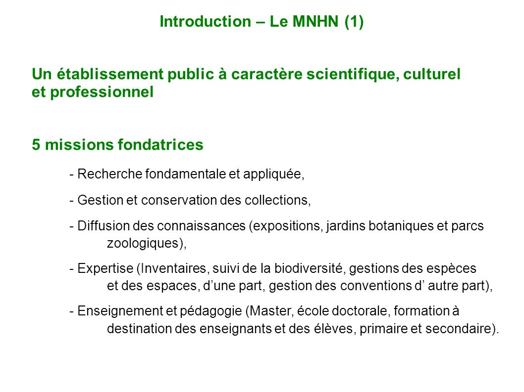 Introduction – Le MNHN (1)
