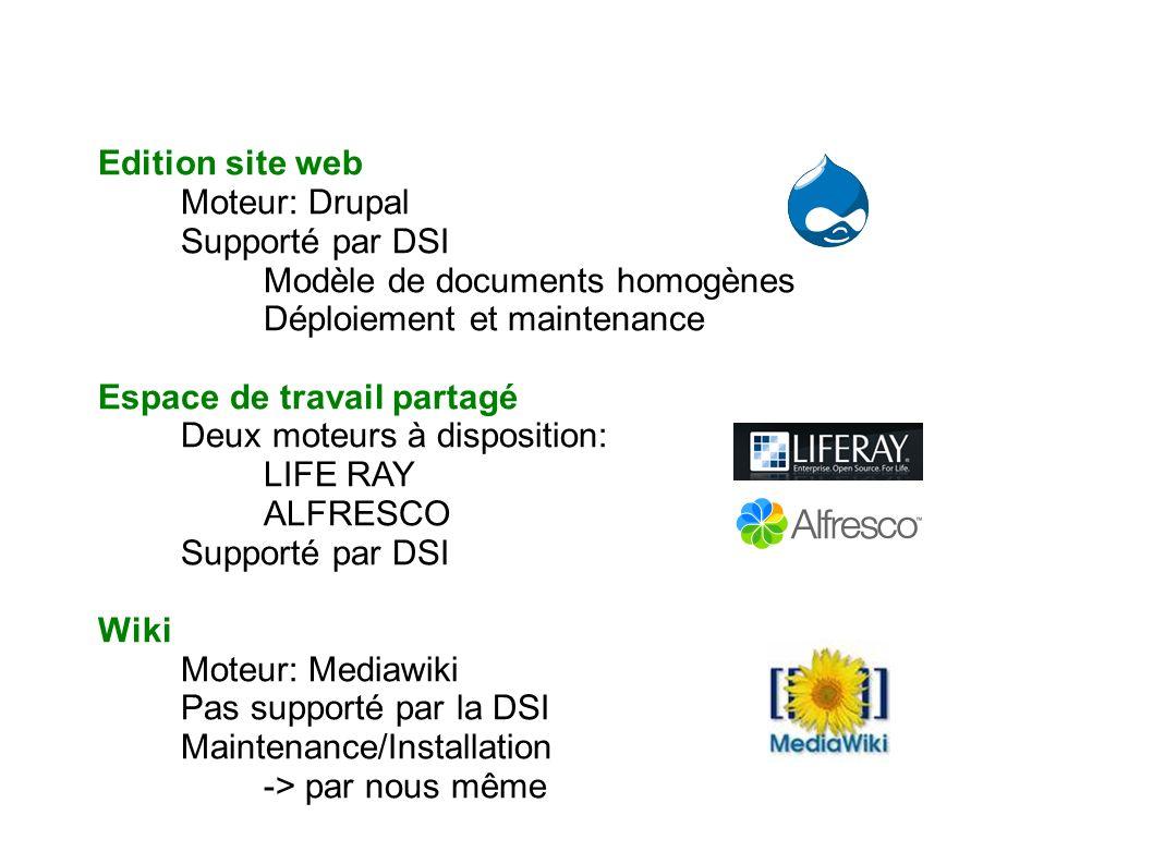 Edition site web Moteur: Drupal. Supporté par DSI. Modèle de documents homogènes. Déploiement et maintenance.