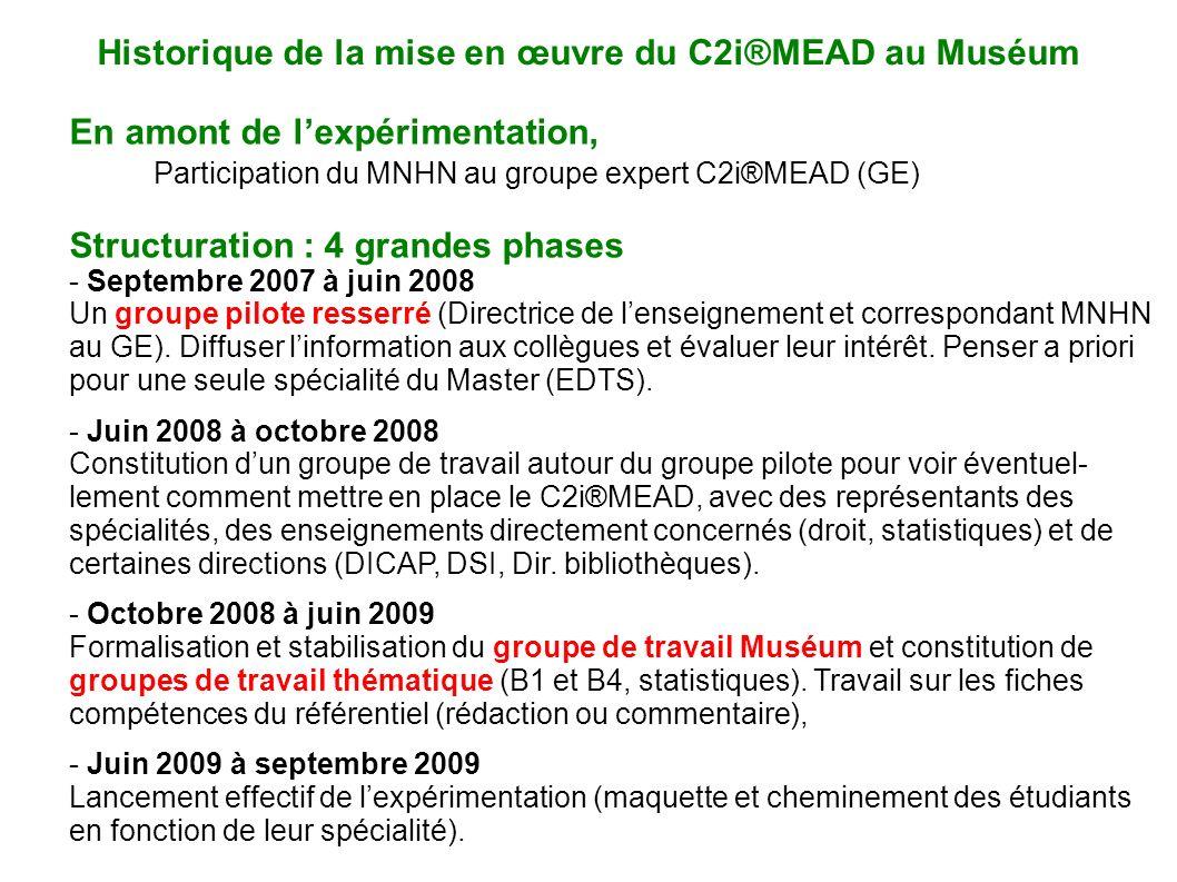 Historique de la mise en œuvre du C2i®MEAD au Muséum
