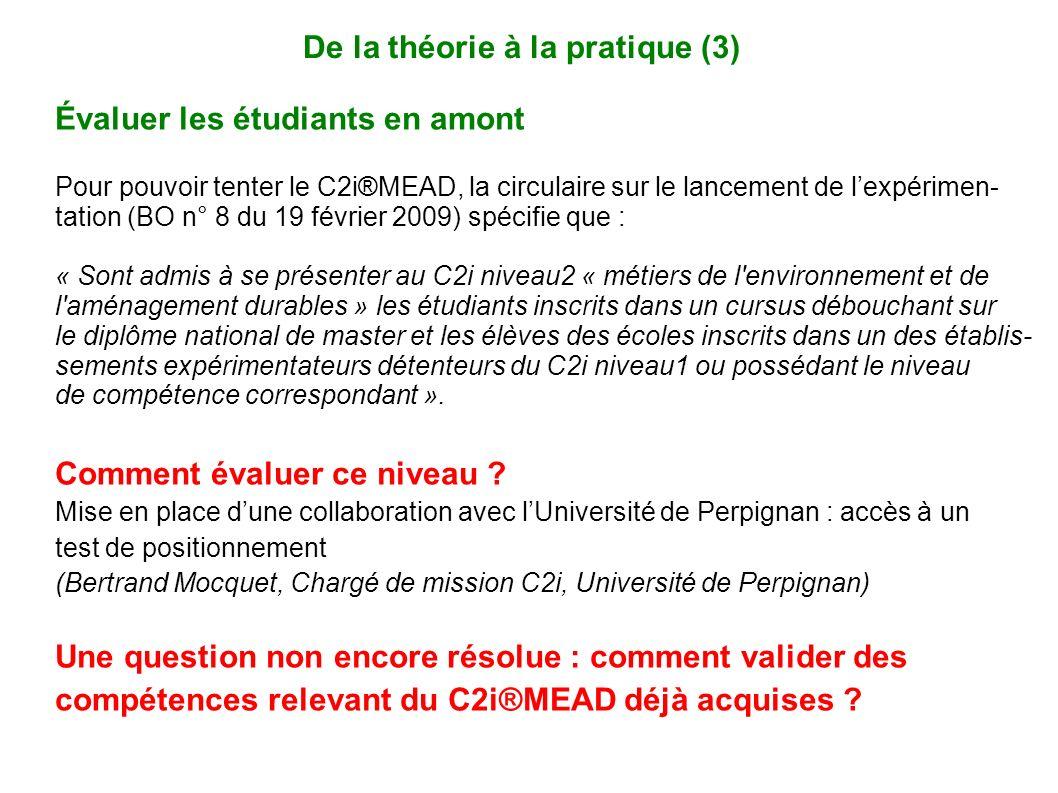 De la théorie à la pratique (3)