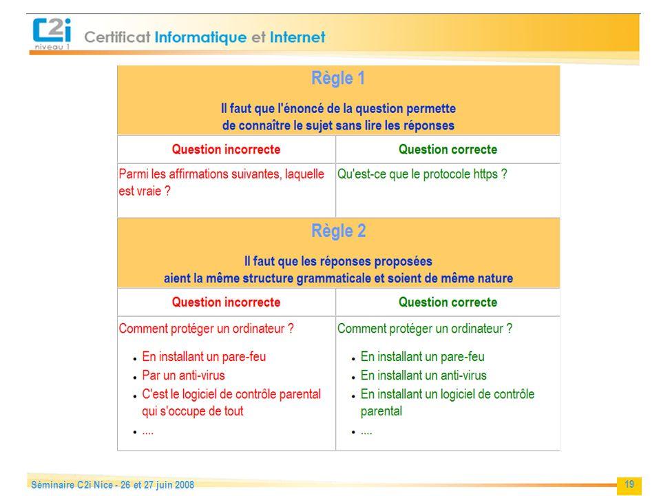 Séminaire C2i Nice - 26 et 27 juin 2008
