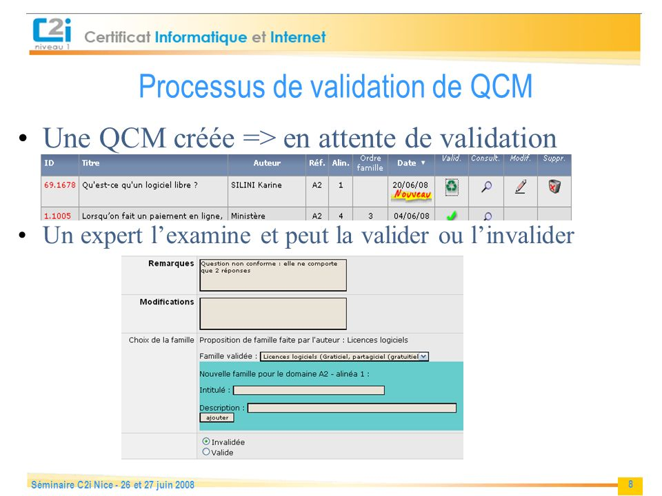 Processus de validation de QCM