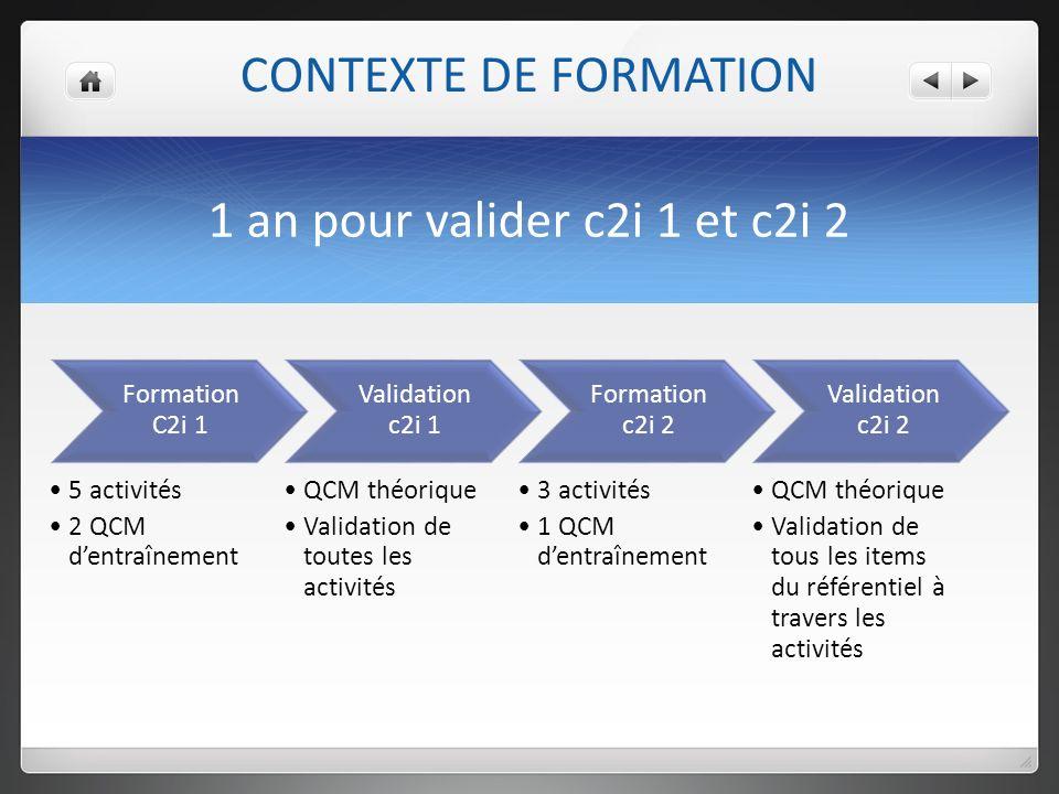 CONTEXTE DE FORMATION 1 an pour valider c2i 1 et c2i 2 Formation C2i 1