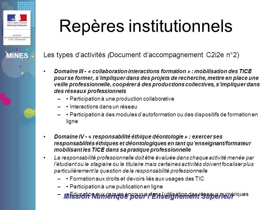 Repères institutionnels