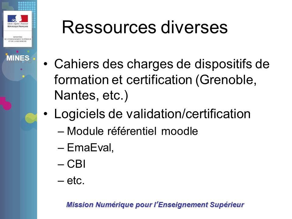 Ressources diversesCahiers des charges de dispositifs de formation et certification (Grenoble, Nantes, etc.)