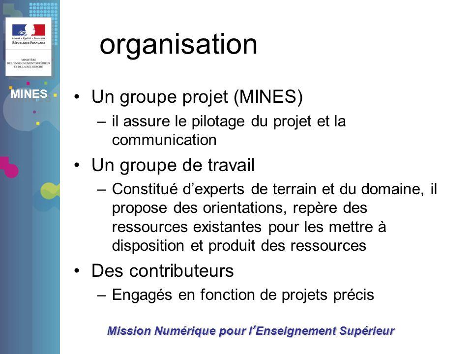 organisation Un groupe projet (MINES) Un groupe de travail