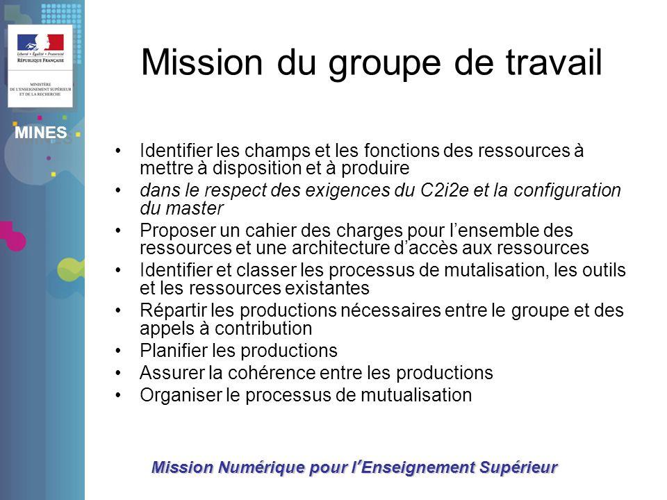Mission du groupe de travail