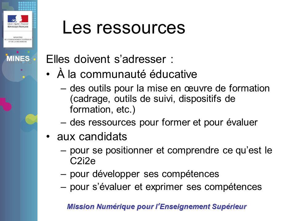 Les ressources Elles doivent s'adresser : À la communauté éducative