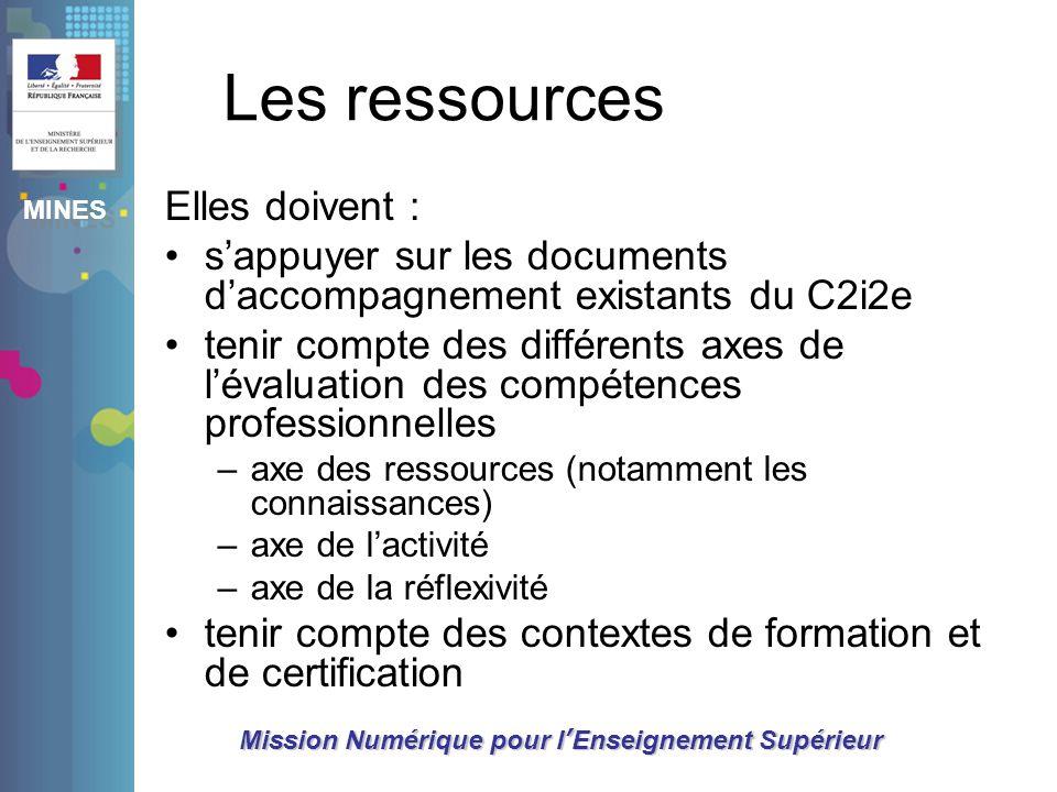 Les ressources Elles doivent :