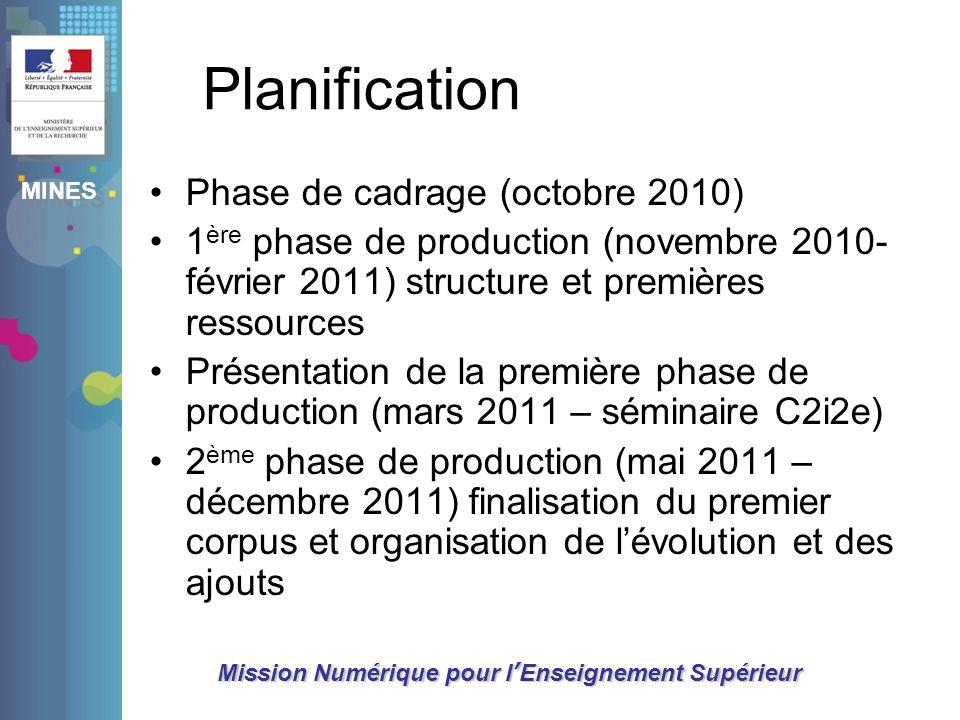 Planification Phase de cadrage (octobre 2010)