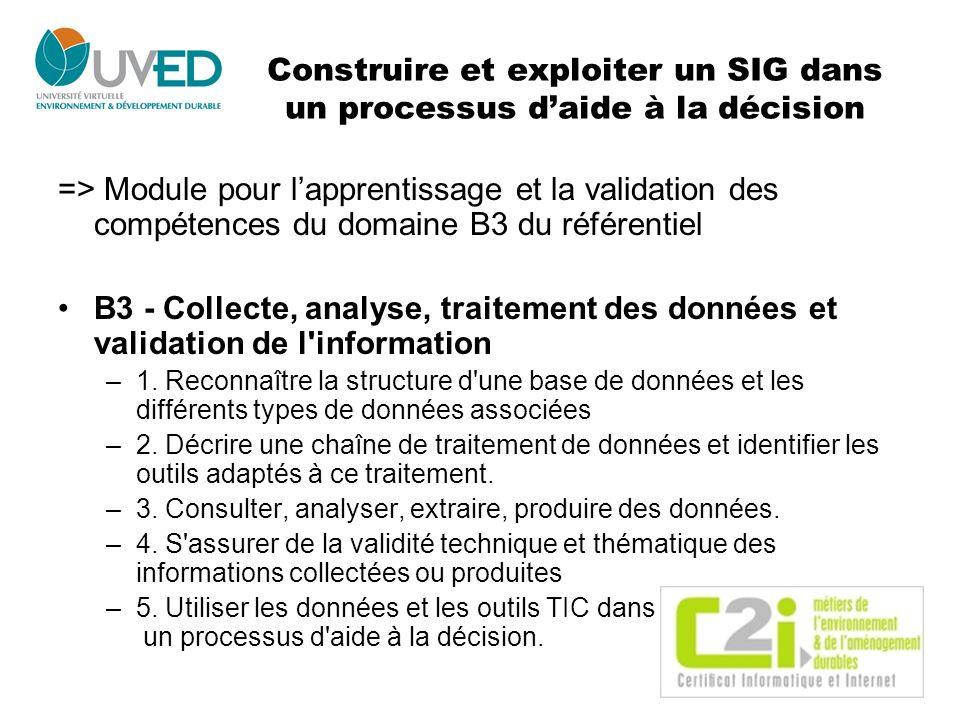 Construire et exploiter un SIG dans un processus d'aide à la décision