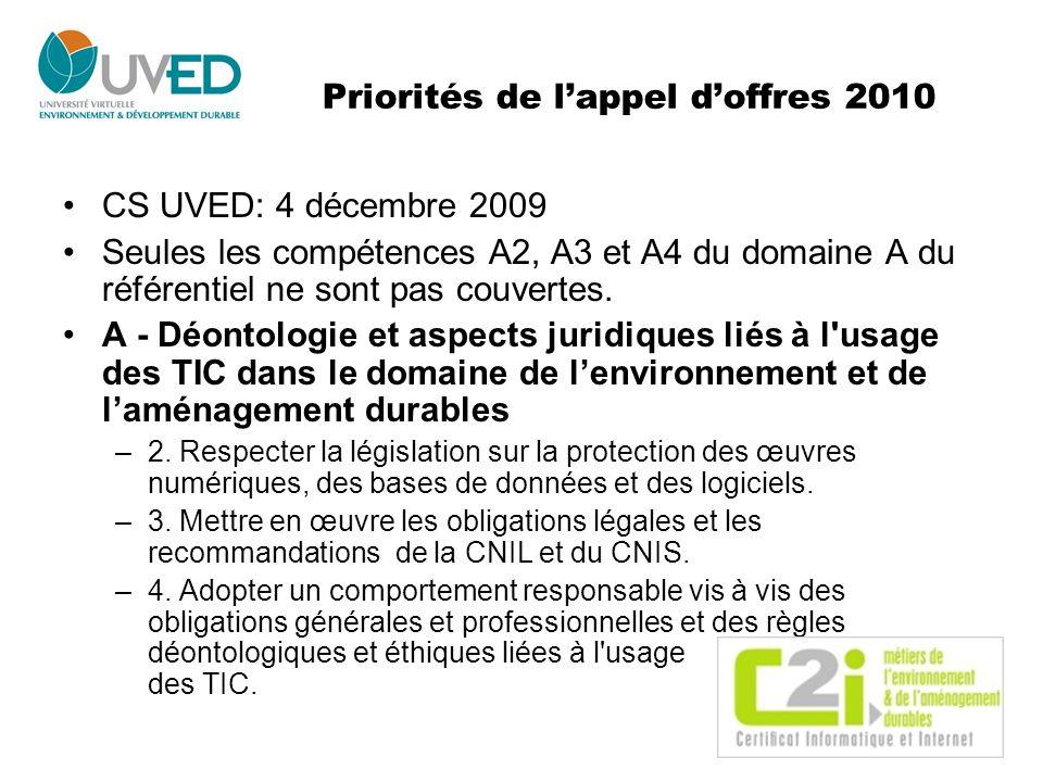 Priorités de l'appel d'offres 2010