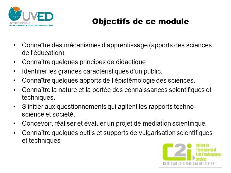 Objectifs de ce module Connaître des mécanismes d'apprentissage (apports des sciences de l'éducation).