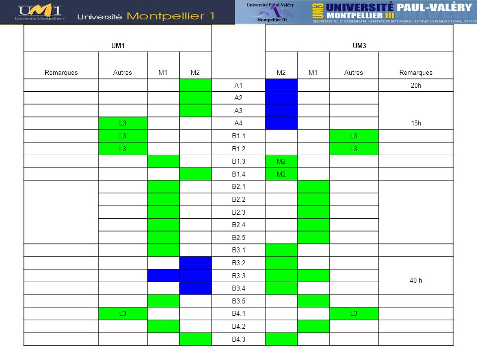 UM1 UM3. Remarques. Autres. M1. M2. A1. 20h. A2. 15h. A3. L3. A4. B1.1. B1.2. B1.3.