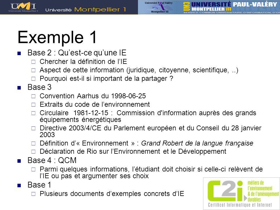 Exemple 1 Base 2 : Qu'est-ce qu'une IE Base 3 Base 4 : QCM Base 1