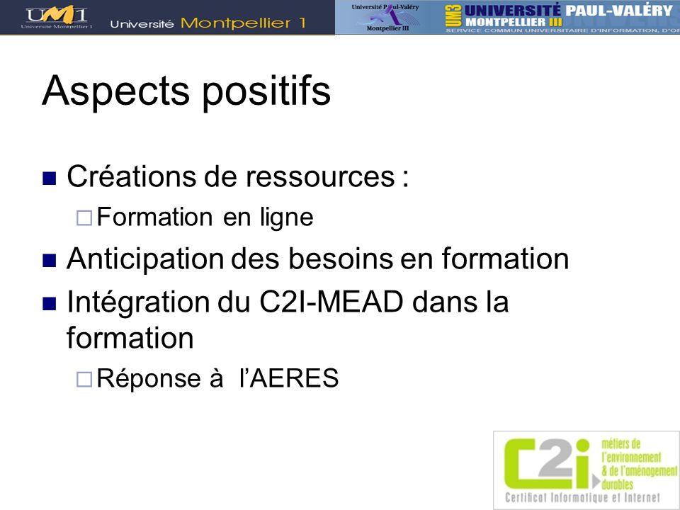 Aspects positifs Créations de ressources :